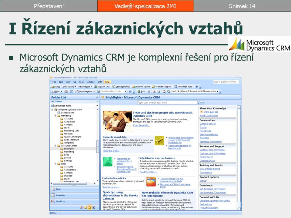I Řízení zákaznických vztahů Microsoft Dynamics CRM je komplexní řešení pro řízení zákaznických vztahů Vedlejší speicalizace 2MISnímek 14Představení