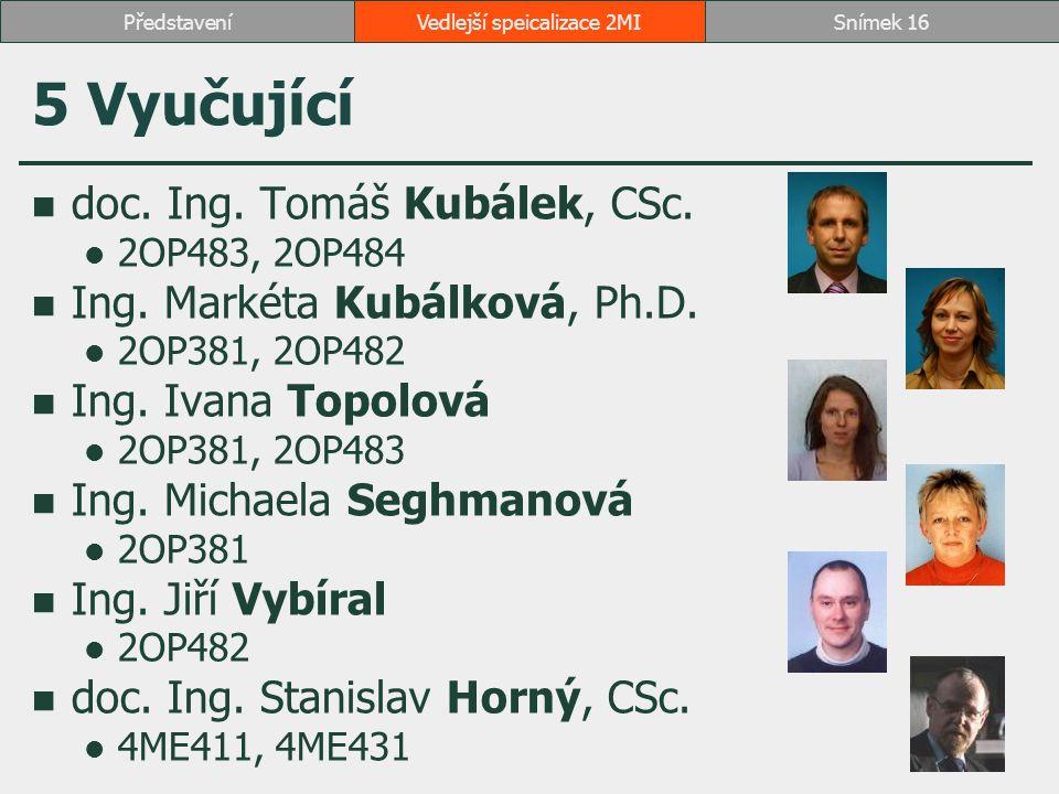 5 Vyučující doc. Ing. Tomáš Kubálek, CSc. 2OP483, 2OP484 Ing. Markéta Kubálková, Ph.D. 2OP381, 2OP482 Ing. Ivana Topolová 2OP381, 2OP483 Ing. Michaela