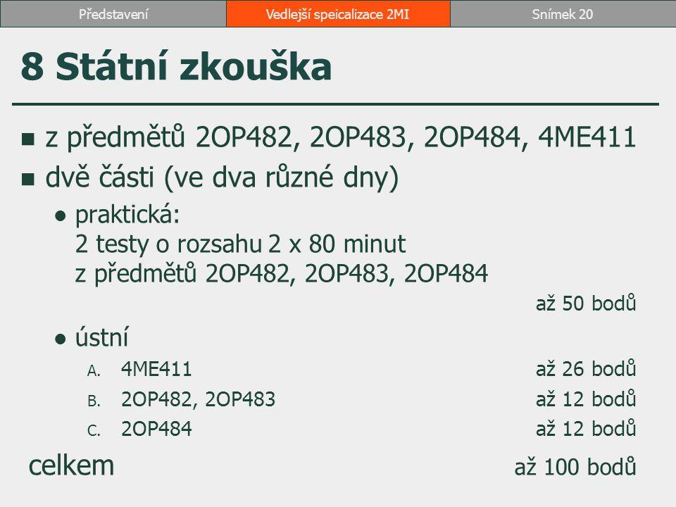 8 Státní zkouška z předmětů 2OP482, 2OP483, 2OP484, 4ME411 dvě části (ve dva různé dny) praktická: 2 testy o rozsahu 2 x 80 minut z předmětů 2OP482, 2