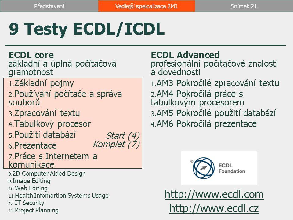 9 Testy ECDL/ICDL ECDL core základní a úplná počítačová gramotnost 1. Základní pojmy 2. Používání počítače a správa souborů 3. Zpracování textu 4. Tab
