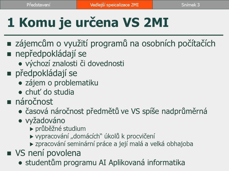 2 Struktura předmětů 1.2OP381 Manažerská informatika 1 nebo 4ME431 Vizuální komunikace 2.