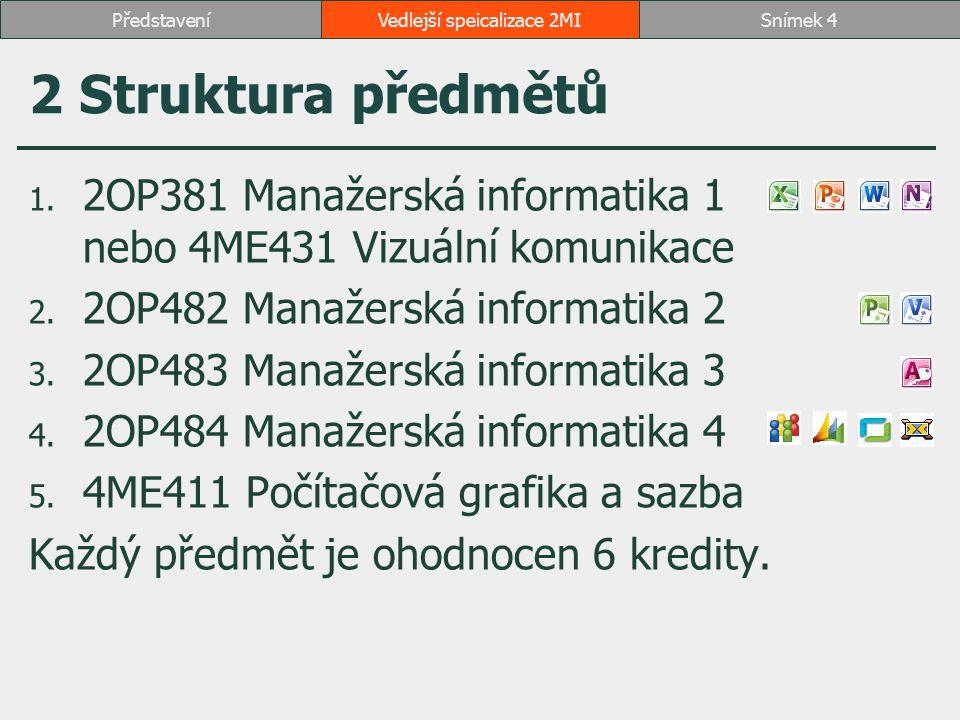 2 Struktura předmětů 1. 2OP381 Manažerská informatika 1 nebo 4ME431 Vizuální komunikace 2. 2OP482 Manažerská informatika 2 3. 2OP483 Manažerská inform