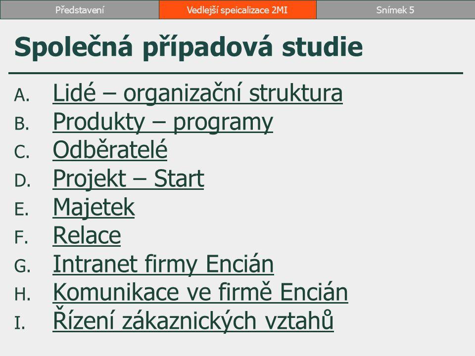 Vedlejší speicalizace 2MISnímek 5Představení Společná případová studie A. Lidé – organizační struktura Lidé – organizační struktura B. Produkty – prog