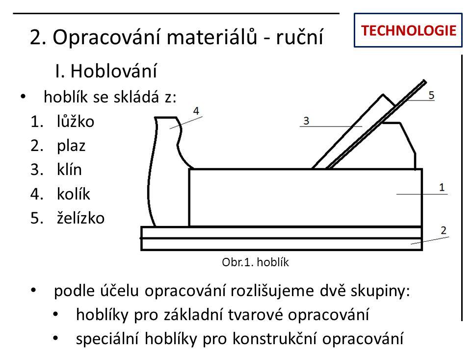 TECHNOLOGIE I. Hoblování 2. Opracování materiálů - ruční hoblík se skládá z: 1.lůžko 2.plaz 3.klín 4.kolík 5.želízko podle účelu opracování rozlišujem