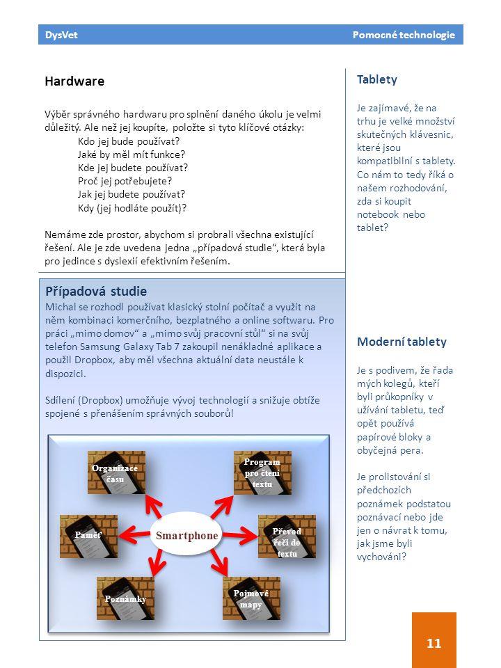 DysVet Pomocné technologie 11 Hardware Výběr správného hardwaru pro splnění daného úkolu je velmi důležitý. Ale než jej koupíte, položte si tyto klíčo