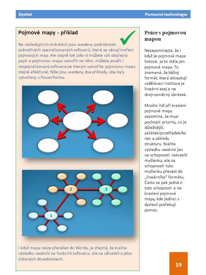 DysVet Pomocné technologie 19 Pojmové mapy - příklad Na následujících stránkách jsou uvedeny podrobnosti jednotlivých specializovaných softwarů, které