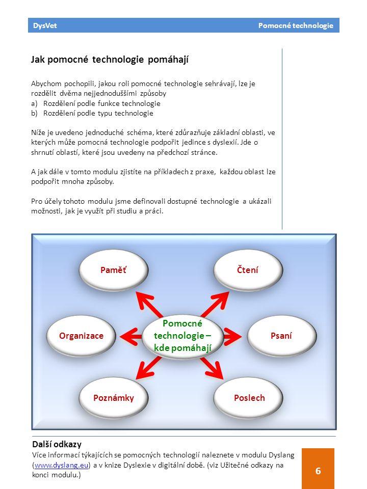 DysVet Pomocné technologie 6 Jak pomocné technologie pomáhají Abychom pochopili, jakou roli pomocné technologie sehrávají, lze je rozdělit dvěma nejje
