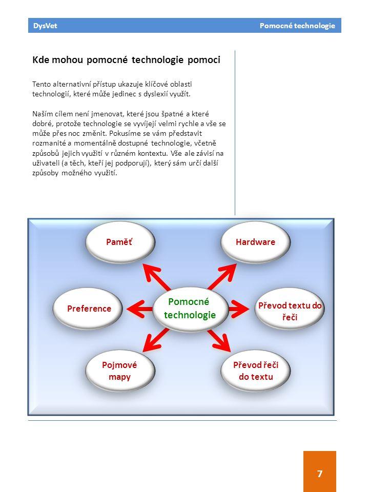 DysVet Pomocné technologie 7 Kde mohou pomocné technologie pomoci Tento alternativní přístup ukazuje klíčové oblasti technologií, které může jedinec s