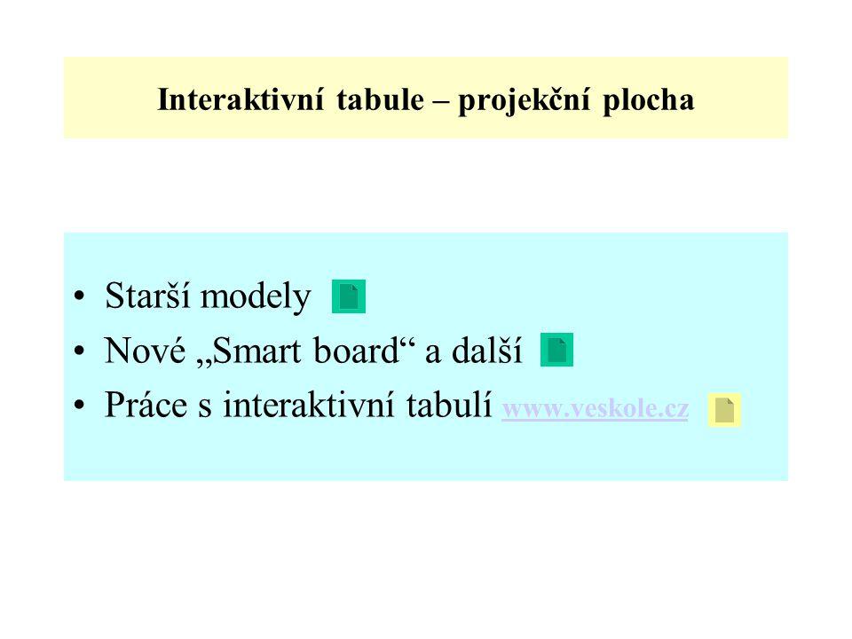 """Interaktivní tabule – projekční plocha Starší modely Nové """"Smart board a další Práce s interaktivní tabulí www.veskole.cz www.veskole.cz"""