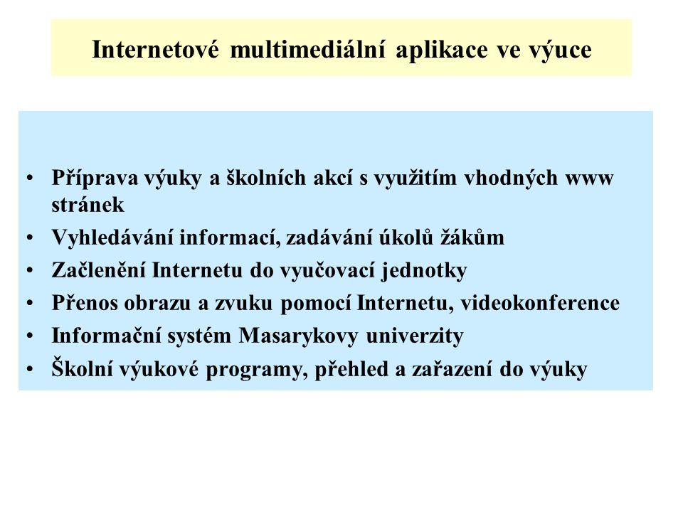 Internetové multimediální aplikace ve výuce Příprava výuky a školních akcí s využitím vhodných www stránek Vyhledávání informací, zadávání úkolů žákům