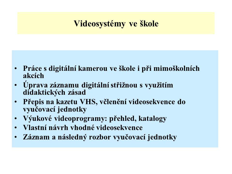 Videosystémy ve škole Práce s digitální kamerou ve škole i při mimoškolních akcích Úprava záznamu digitální střižnou s využitím didaktických zásad Přepis na kazetu VHS, včlenění videosekvence do vyučovací jednotky Výukové videoprogramy: přehled, katalogy Vlastní návrh vhodné videosekvence Záznam a následný rozbor vyučovací jednotky