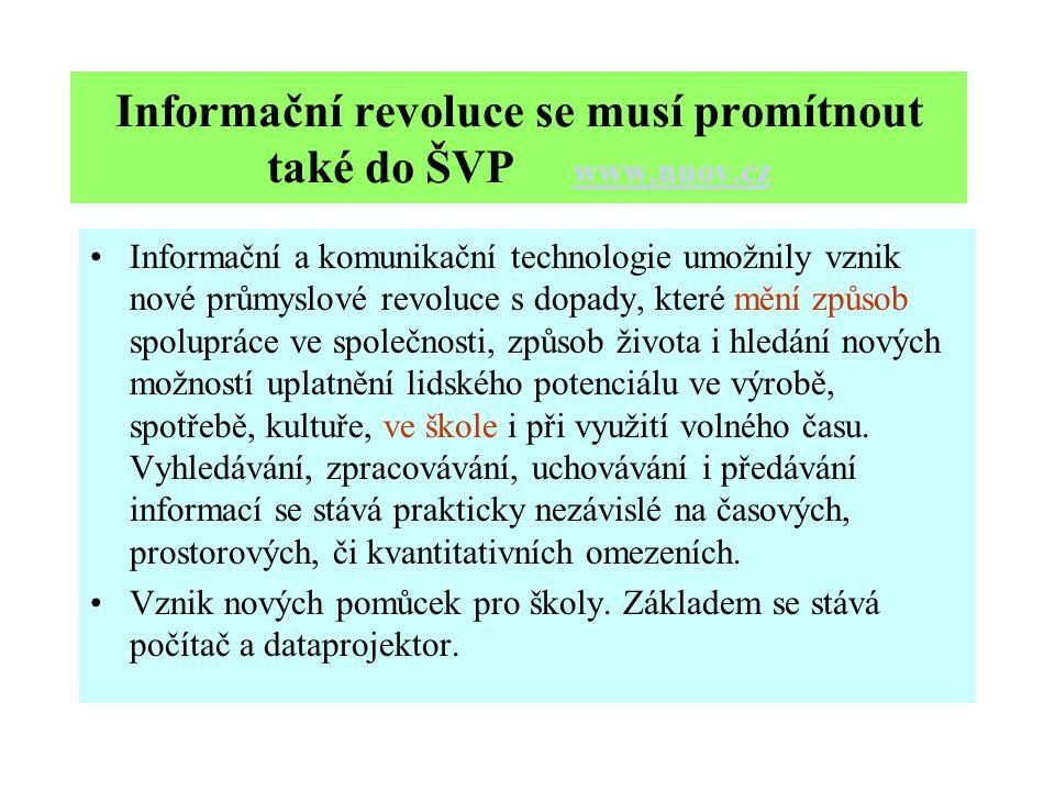 Informační revoluce se musí promítnout také do ŠVP www.nuov.cz www.nuov.cz Informační a komunikační technologie umožnily vznik nové průmyslové revoluce s dopady, které mění způsob spolupráce ve společnosti, způsob života i hledání nových možností uplatnění lidského potenciálu ve výrobě, spotřebě, kultuře, ve škole i při využití volného času.
