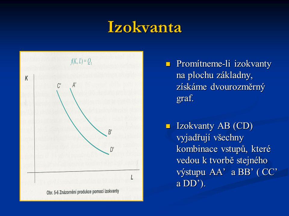 Izokvanta Promítneme-li izokvanty na plochu základny, získáme dvourozměrný graf. Izokvanty AB (CD) vyjadřují všechny kombinace vstupů, které vedou k t