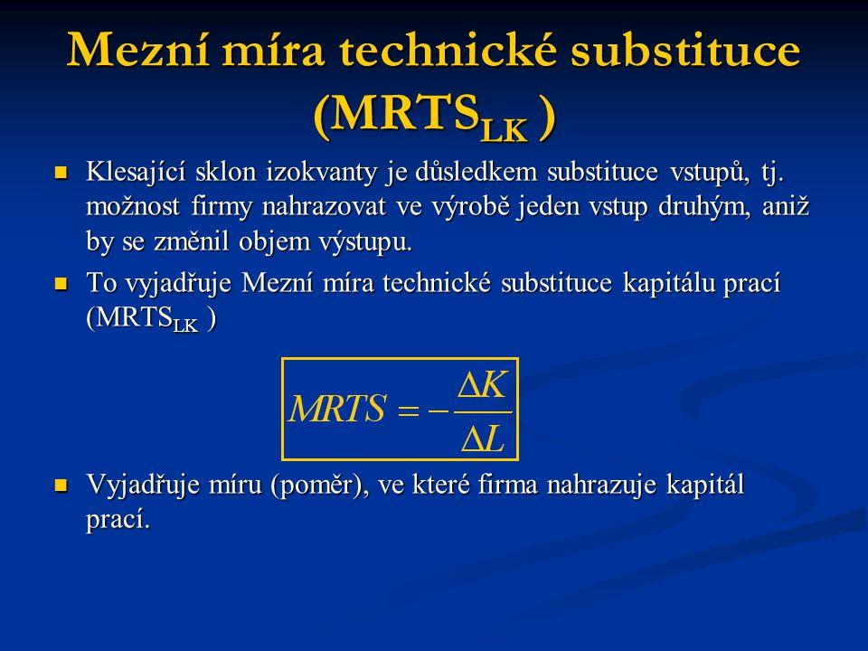 Mezní míra technické substituce (MRTS LK ) Klesající sklon izokvanty je důsledkem substituce vstupů, tj. možnost firmy nahrazovat ve výrobě jeden vstu