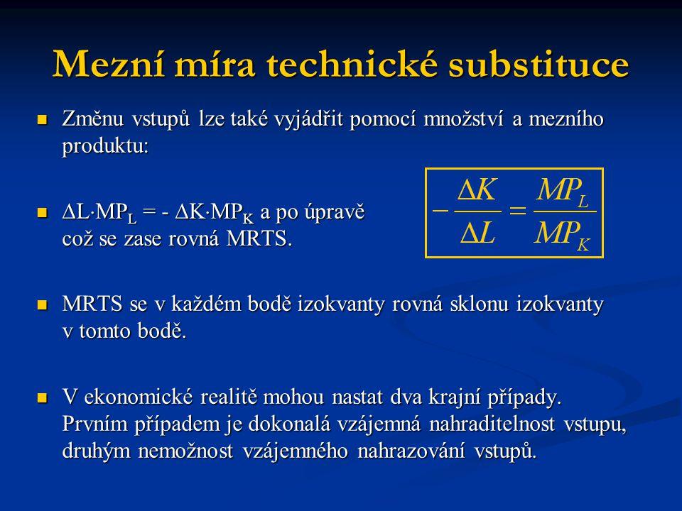 Mezní míra technické substituce Změnu vstupů lze také vyjádřit pomocí množství a mezního produktu: Změnu vstupů lze také vyjádřit pomocí množství a me