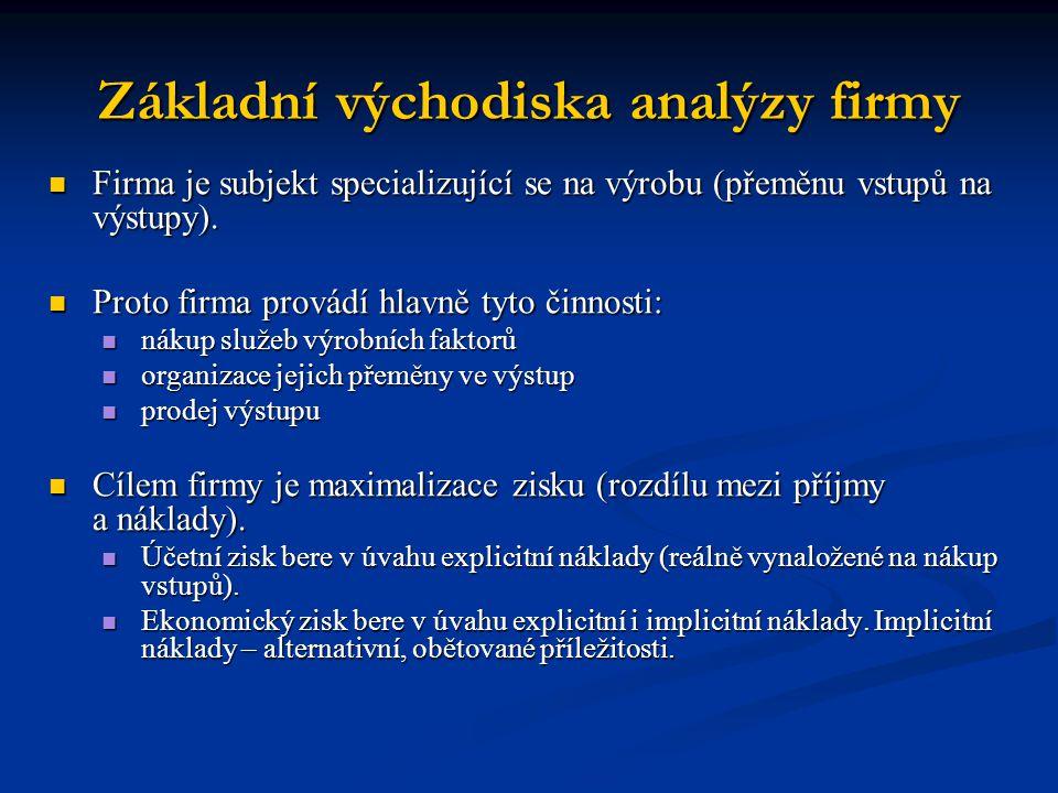 Základní východiska analýzy firmy Firma je subjekt specializující se na výrobu (přeměnu vstupů na výstupy). Firma je subjekt specializující se na výro