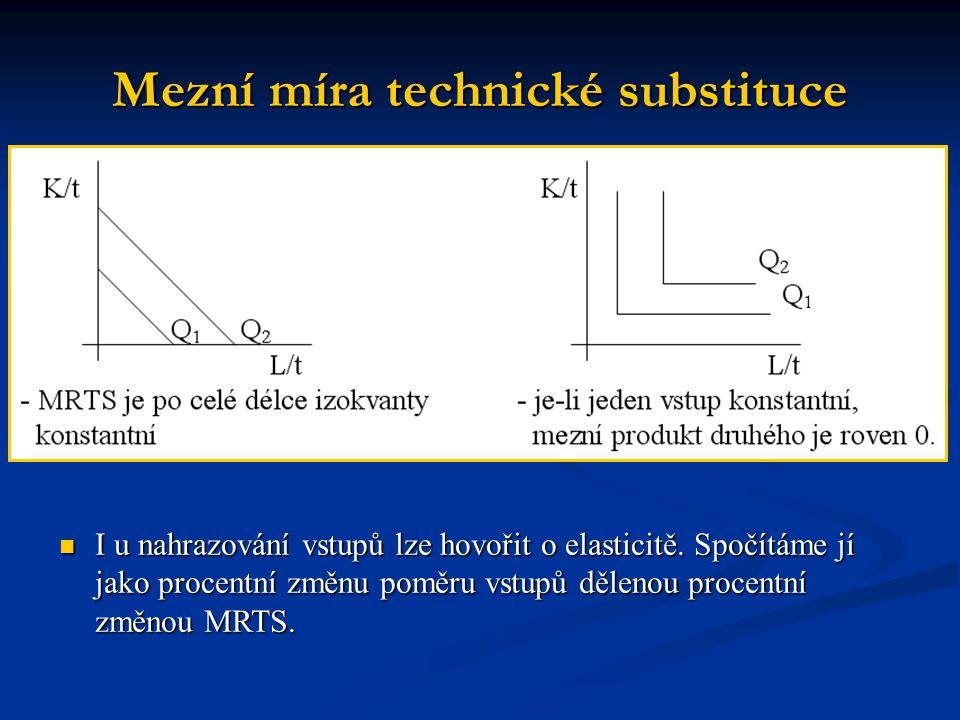 Mezní míra technické substituce I u nahrazování vstupů lze hovořit o elasticitě. Spočítáme jí jako procentní změnu poměru vstupů dělenou procentní změ