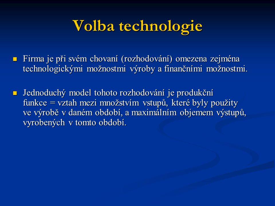 Volba technologie Firma je při svém chovaní (rozhodování) omezena zejména technologickými možnostmi výroby a finančními možnostmi. Firma je při svém c