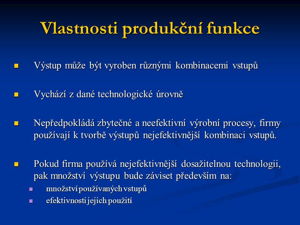 Vlastnosti produkční funkce Výstup může být vyroben různými kombinacemi vstupů Výstup může být vyroben různými kombinacemi vstupů Vychází z dané techn