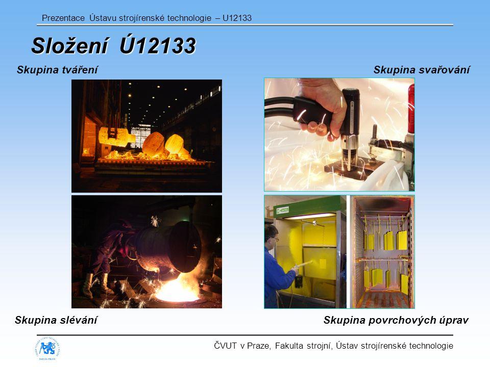 ČVUT v Praze, Fakulta strojní, Ústav strojírenské technologie Prezentace Ústavu strojírenské technologie – U12133 Složení Ú12133 Skupina sléváníSkupina povrchových úprav Skupina svařováníSkupina tváření