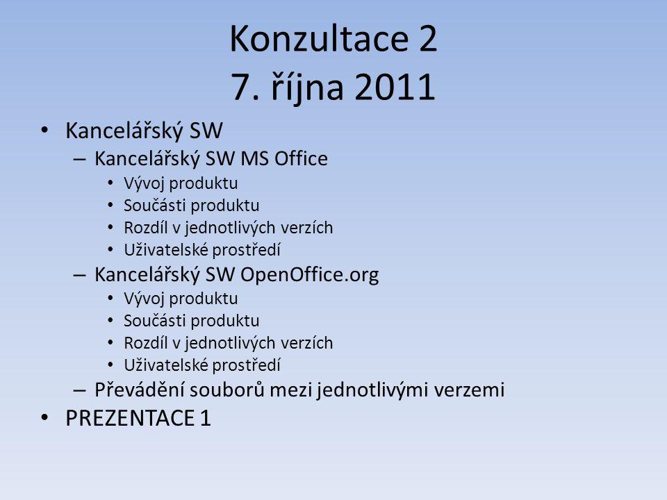 Konzultace 2 7. října 2011 Kancelářský SW – Kancelářský SW MS Office Vývoj produktu Součásti produktu Rozdíl v jednotlivých verzích Uživatelské prostř
