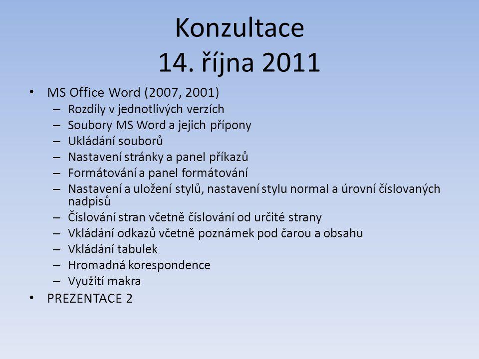Konzultace 14. října 2011 MS Office Word (2007, 2001) – Rozdíly v jednotlivých verzích – Soubory MS Word a jejich přípony – Ukládání souborů – Nastave