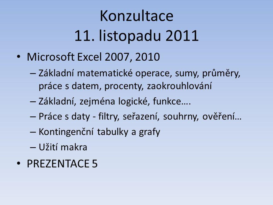 Konzultace 11. listopadu 2011 Microsoft Excel 2007, 2010 – Základní matematické operace, sumy, průměry, práce s datem, procenty, zaokrouhlování – Zákl
