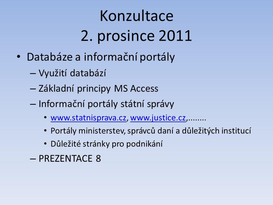 Konzultace 2. prosince 2011 Databáze a informační portály – Využití databází – Základní principy MS Access – Informační portály státní správy www.stat