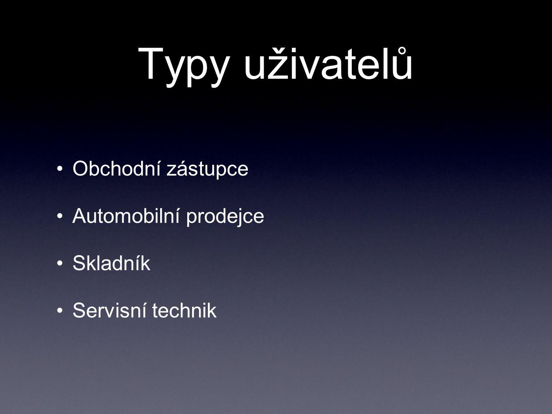 Typy uživatelů Obchodní zástupce Automobilní prodejce Skladník Servisní technik