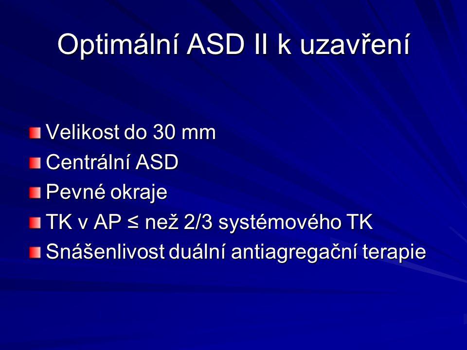 Optimální ASD II k uzavření Velikost do 30 mm Centrální ASD Pevné okraje TK v AP ≤ než 2/3 systémového TK Snášenlivost duální antiagregační terapie