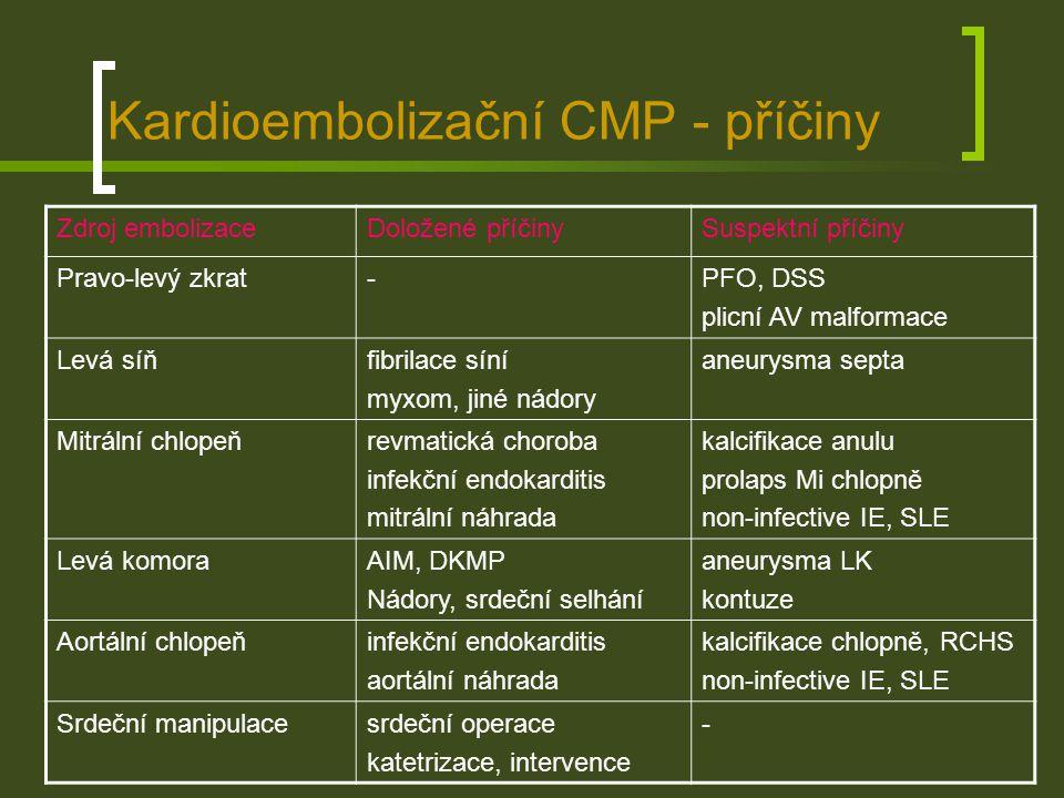 Kardioembolizační CMP - diagnostika EKG – poruchy srdečního rytmu, Holterovo 24-h monit.