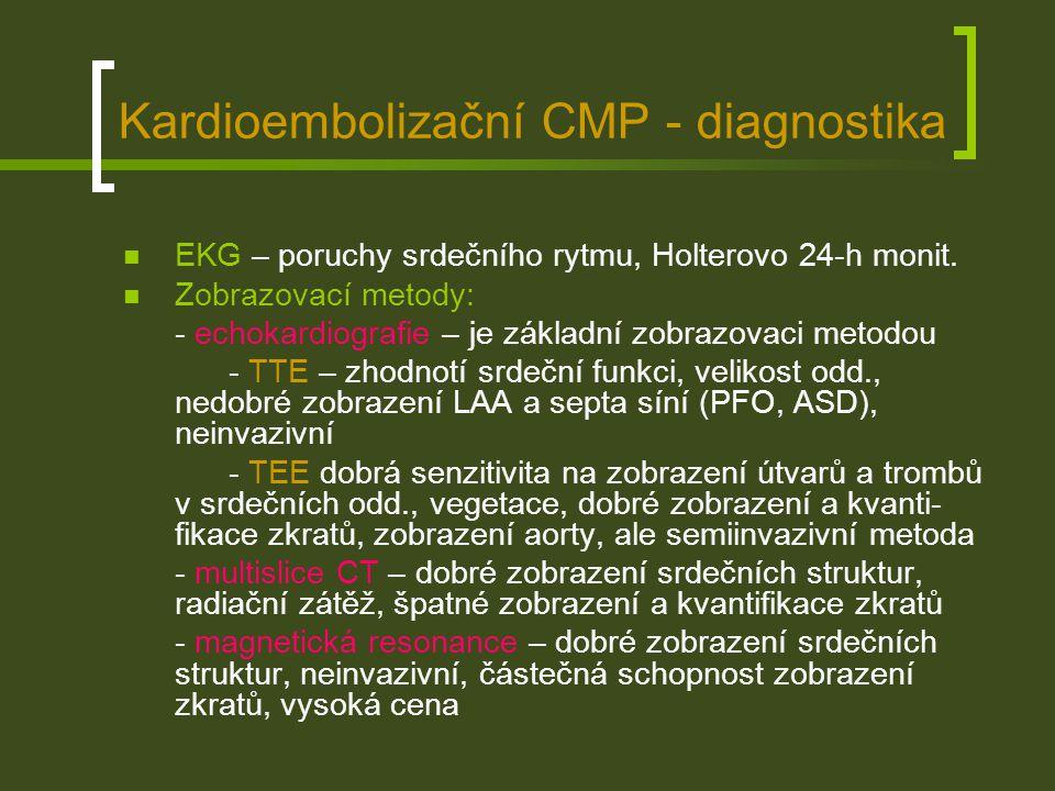 Kardioembolizační CMP - diagnostika Trombus v oušku levé síně (TEE)Defekt septa síní 2.typu (TEE)
