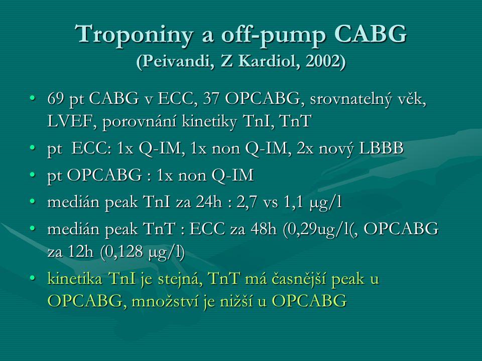 Troponiny a off-pump CABG (Peivandi, Z Kardiol, 2002) 69 pt CABG v ECC, 37 OPCABG, srovnatelný věk, LVEF, porovnání kinetiky TnI, TnT69 pt CABG v ECC, 37 OPCABG, srovnatelný věk, LVEF, porovnání kinetiky TnI, TnT pt ECC: 1x Q-IM, 1x non Q-IM, 2x nový LBBBpt ECC: 1x Q-IM, 1x non Q-IM, 2x nový LBBB pt OPCABG : 1x non Q-IMpt OPCABG : 1x non Q-IM medián peak TnI za 24h : 2,7 vs 1,1 µg/lmedián peak TnI za 24h : 2,7 vs 1,1 µg/l medián peak TnT : ECC za 48h (0,29ug/l(, OPCABG za 12h (0,128 µg/l)medián peak TnT : ECC za 48h (0,29ug/l(, OPCABG za 12h (0,128 µg/l) kinetika TnI je stejná, TnT má časnější peak u OPCABG, množství je nižší u OPCABGkinetika TnI je stejná, TnT má časnější peak u OPCABG, množství je nižší u OPCABG