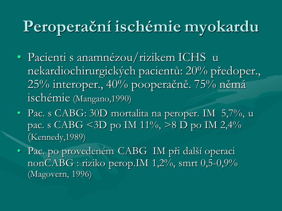 Mechanismy perioperačního IM v kardiochirurgii (Kaplan,2000) Závažná předoperační myokardiální ischémieZávažná předoperační myokardiální ischémie Difúzní a mnohočetné postižení koronárních tepen: - technické problémy šití anastomózy, prolongovaná délka ECC a aortální svorky, inkompletní revaskularizaceDifúzní a mnohočetné postižení koronárních tepen: - technické problémy šití anastomózy, prolongovaná délka ECC a aortální svorky, inkompletní revaskularizace Hemodynamické problémy: EF, LEVDPHemodynamické problémy: EF, LEVDP Chirurgie: reperfúzní postižení, lokalizované trauma, endarterektomie, disekce stěnyChirurgie: reperfúzní postižení, lokalizované trauma, endarterektomie, disekce stěny