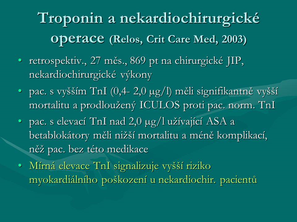 Troponin a nekardiochirurgické operace (Relos, Crit Care Med, 2003) retrospektiv., 27 měs., 869 pt na chirurgické JIP, nekardiochirurgické výkonyretrospektiv., 27 měs., 869 pt na chirurgické JIP, nekardiochirurgické výkony pac.