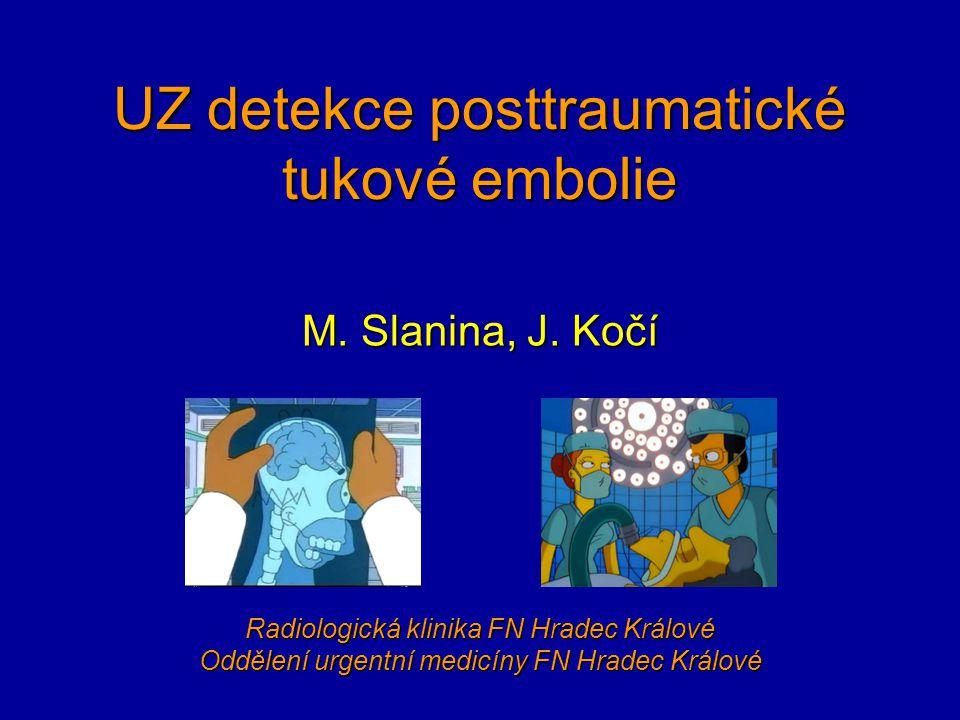 UZ detekce posttraumatické tukové embolie M. Slanina, J. Kočí Radiologická klinika FN Hradec Králové Oddělení urgentní medicíny FN Hradec Králové