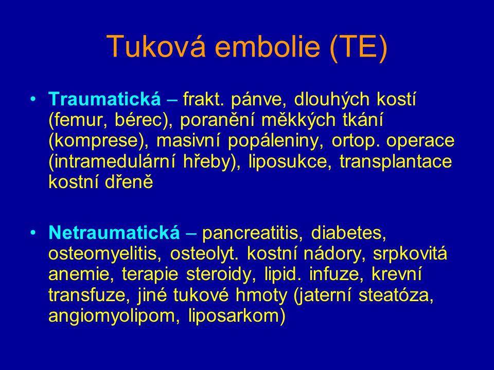 Tuková embolie (TE) Traumatická – frakt. pánve, dlouhých kostí (femur, bérec), poranění měkkých tkání (komprese), masivní popáleniny, ortop. operace (