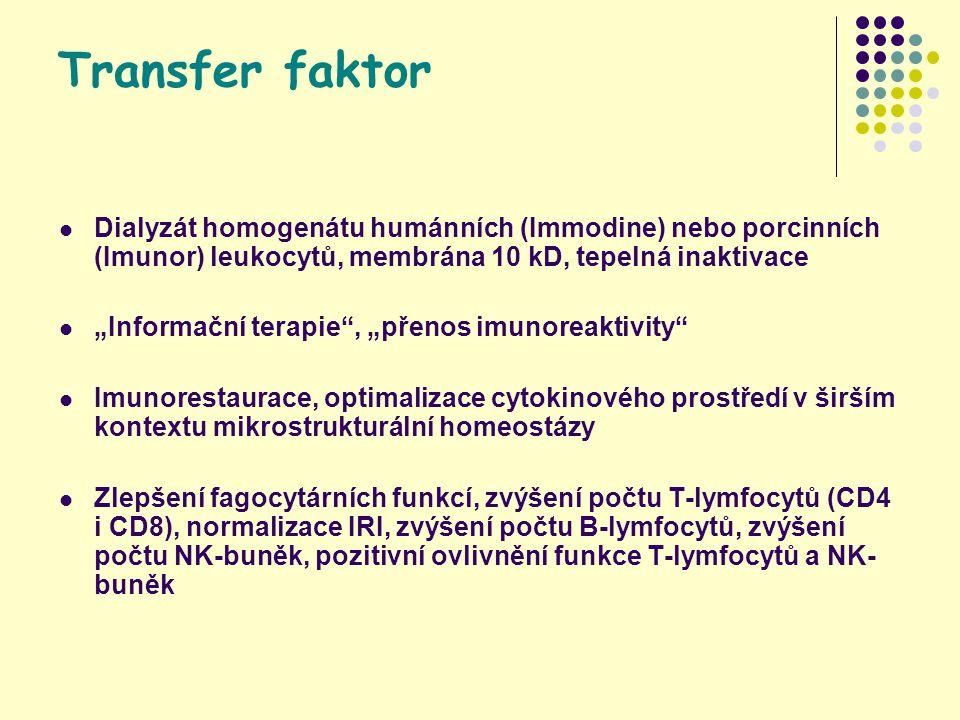 """Transfer faktor Dialyzát homogenátu humánních (Immodine) nebo porcinních (Imunor) leukocytů, membrána 10 kD, tepelná inaktivace """"Informační terapie , """"přenos imunoreaktivity Imunorestaurace, optimalizace cytokinového prostředí v širším kontextu mikrostrukturální homeostázy Zlepšení fagocytárních funkcí, zvýšení počtu T-lymfocytů (CD4 i CD8), normalizace IRI, zvýšení počtu B-lymfocytů, zvýšení počtu NK-buněk, pozitivní ovlivnění funkce T-lymfocytů a NK- buněk"""