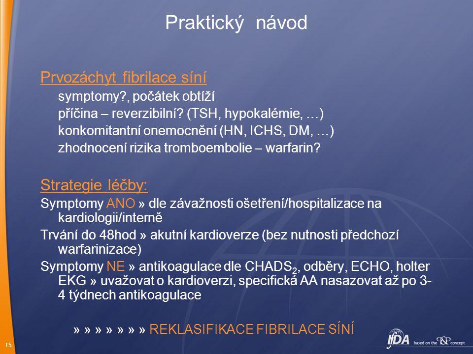 15 Praktický návod Prvozáchyt fibrilace síní symptomy?, počátek obtíží příčina – reverzibilní? (TSH, hypokalémie, …) konkomitantní onemocnění (HN, ICH