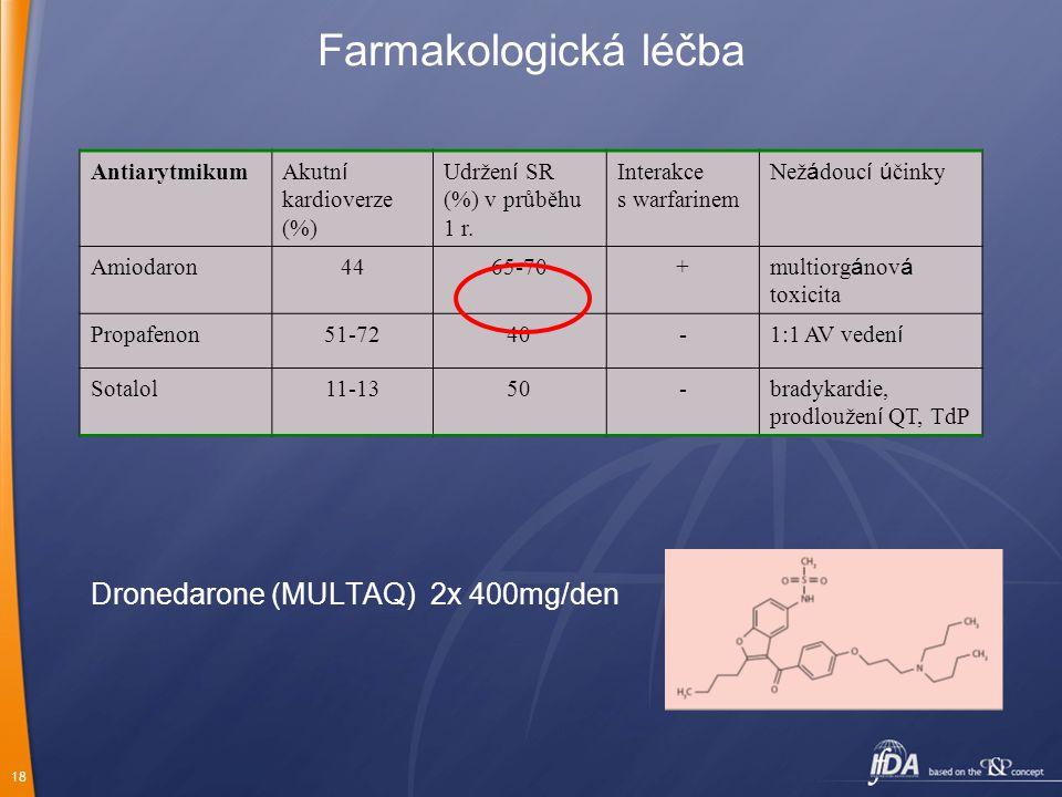 18 Farmakologická léčba Antiarytmikum Akutn í kardioverze (%) Udržen í SR (%) v průběhu 1 r. Interakce s warfarinem Než á douc í ú činky Amiodaron4465
