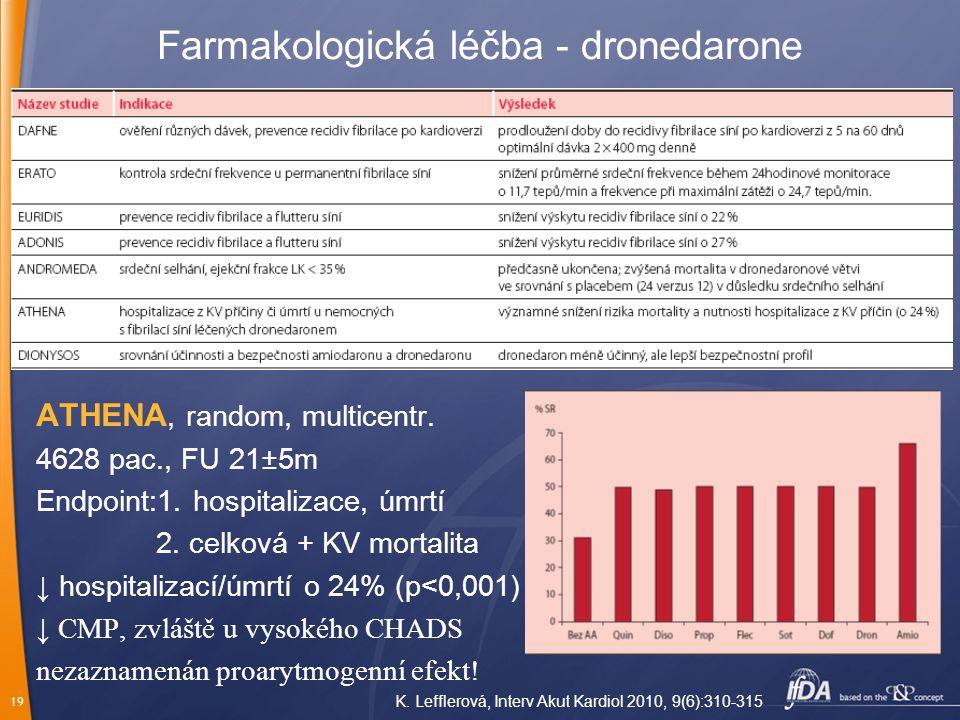 19 Farmakologická léčba - dronedarone ATHENA, random, multicentr. 4628 pac., FU 21±5m Endpoint:1. hospitalizace, úmrtí 2. celková + KV mortalita ↓ hos