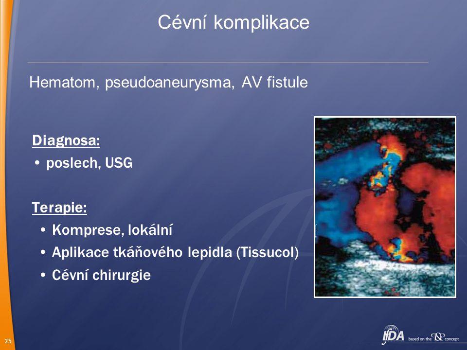 25 Hematom, pseudoaneurysma, AV fistule Diagnosa: poslech, USG Terapie: Komprese, lokální Aplikace tkáňového lepidla (Tissucol) Cévní chirurgie Cévní