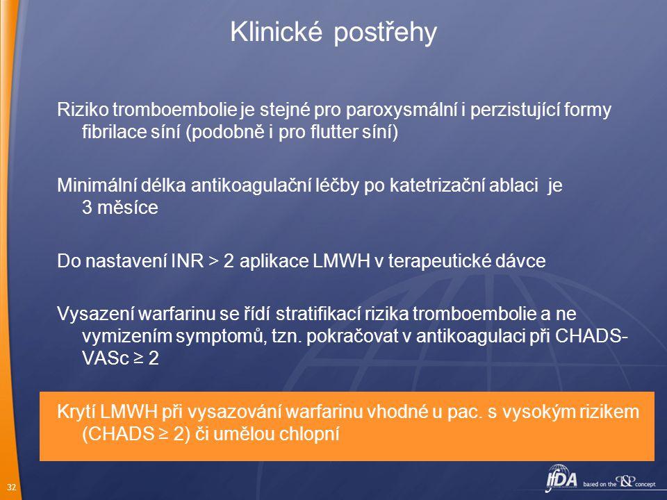 32 Klinické postřehy Riziko tromboembolie je stejné pro paroxysmální i perzistující formy fibrilace síní (podobně i pro flutter síní) Minimální délka