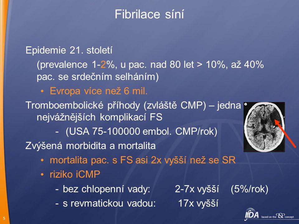 6 Fibrilace síní Nárůst počtu hospitalizací Zhoršená kvalita života Srdeční selhání (výrazná variabilita - normální funkce vs akutní srdeční selhání při tachykardické kardiomyopatii) funkční omezení po CMP: Sources: Neurology, 1978; Stroke, 1985; European Heart Journal, 1987; Lancet, 1987; Fisher.