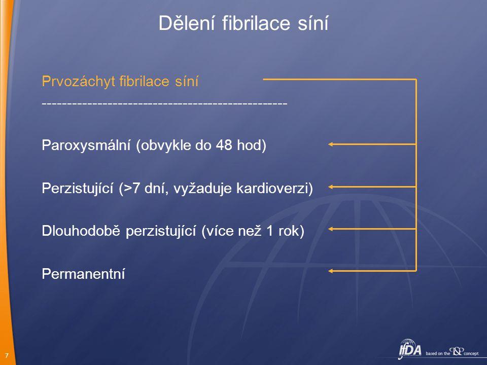 7 Dělení fibrilace síní Prvozáchyt fibrilace síní ------------------------------------------------- Paroxysmální (obvykle do 48 hod) Perzistující (>7
