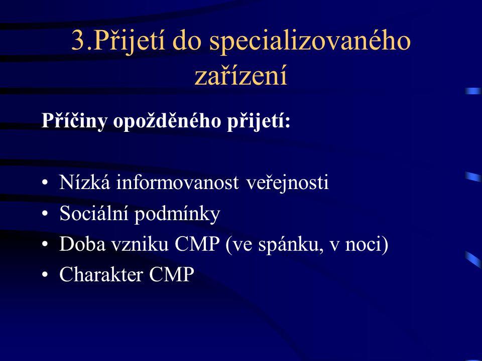 3.Přijetí do specializovaného zařízení Příčiny opožděného přijetí: Nízká informovanost veřejnosti Sociální podmínky Doba vzniku CMP (ve spánku, v noci