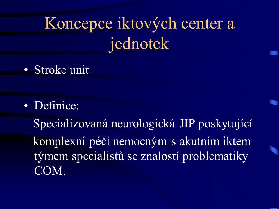 Koncepce iktových center a jednotek Stroke unit Definice: Specializovaná neurologická JIP poskytující komplexní péči nemocným s akutním iktem týmem sp