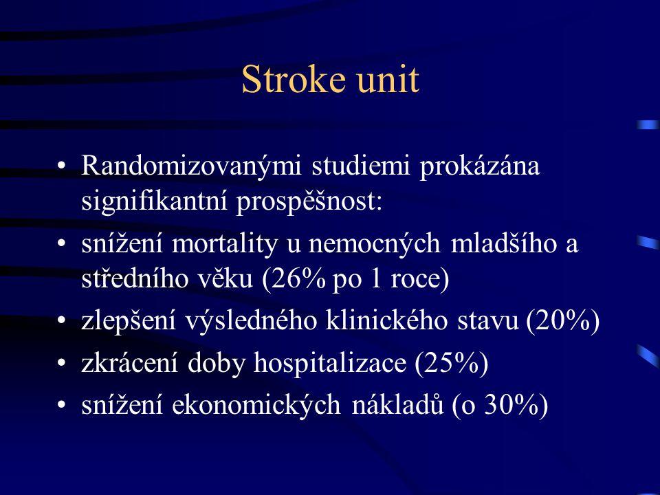 Stroke unit Randomizovanými studiemi prokázána signifikantní prospěšnost: snížení mortality u nemocných mladšího a středního věku (26% po 1 roce) zlep