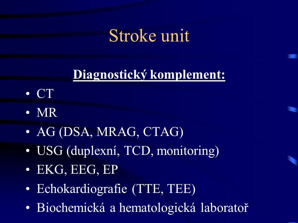 Stroke unit Diagnostický komplement: CT MR AG (DSA, MRAG, CTAG) USG (duplexní, TCD, monitoring) EKG, EEG, EP Echokardiografie (TTE, TEE) Biochemická a