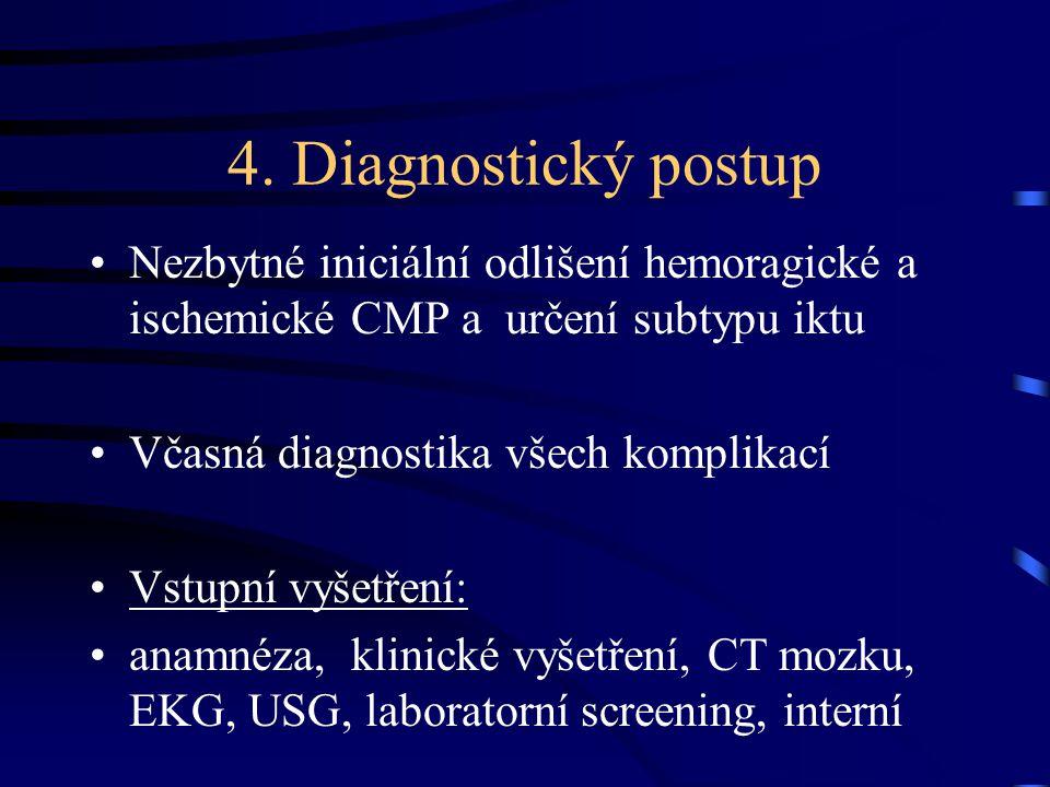 4. Diagnostický postup Nezbytné iniciální odlišení hemoragické a ischemické CMP a určení subtypu iktu Včasná diagnostika všech komplikací Vstupní vyše
